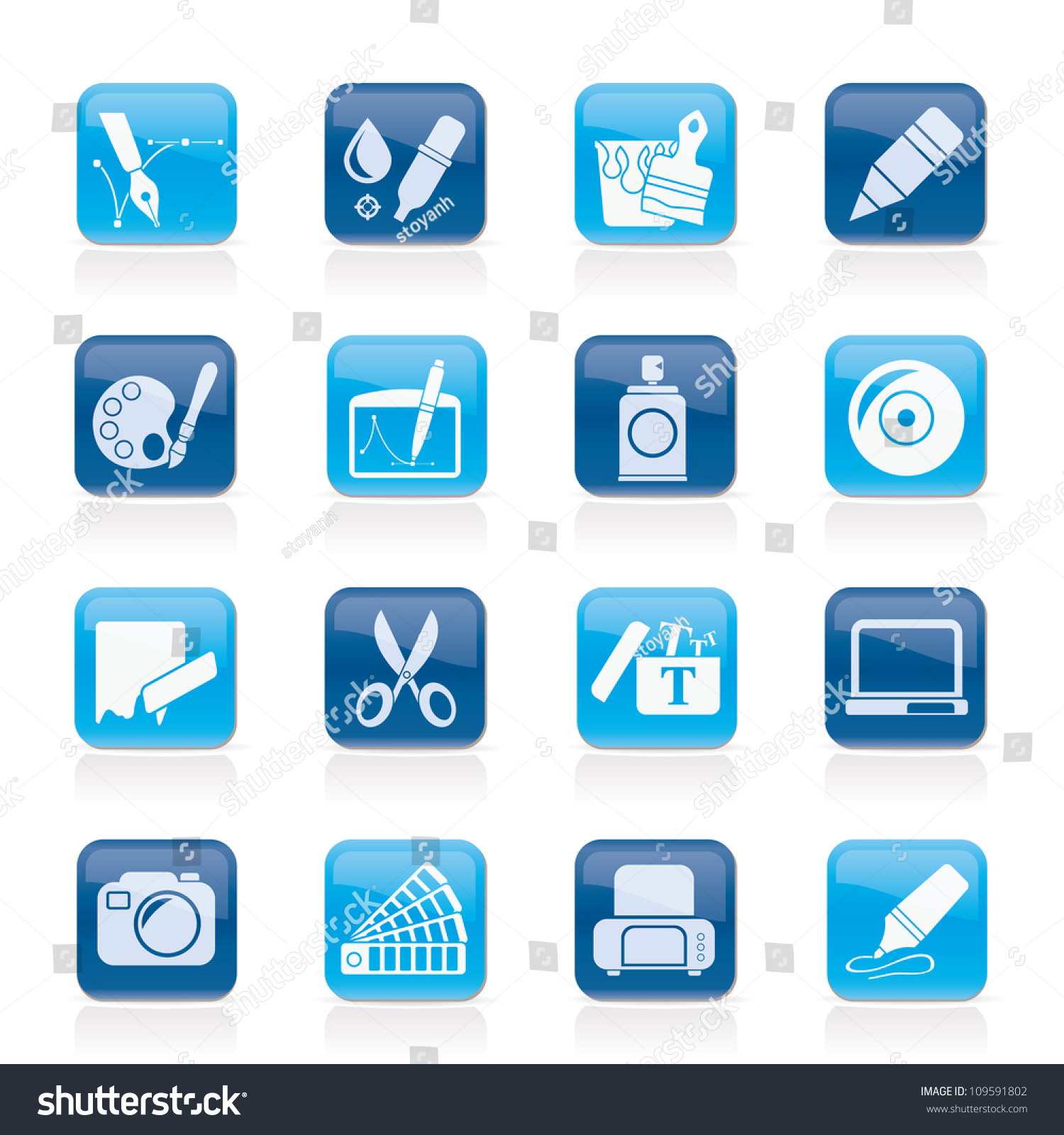 Graphic Web Design Icons Vector Icon Stock Vector 109591802 ...