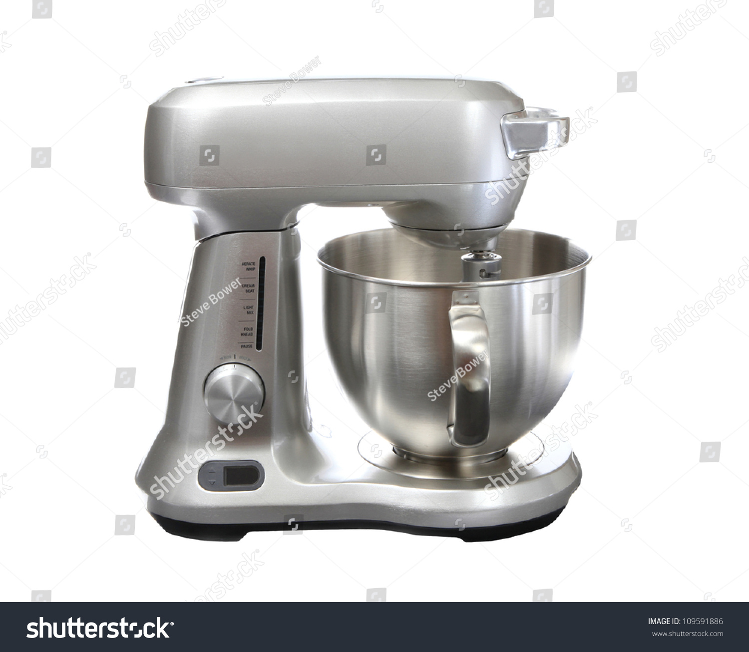 stainless steel stand food mixer isolated stock photo 109591886 shutterstock. Black Bedroom Furniture Sets. Home Design Ideas