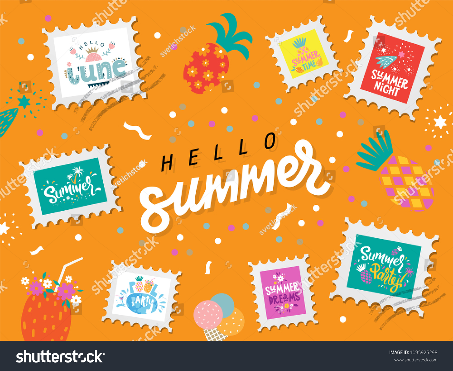 Set Hello Summer Handdrawn Lettering Stamps Stock Vector Royalty