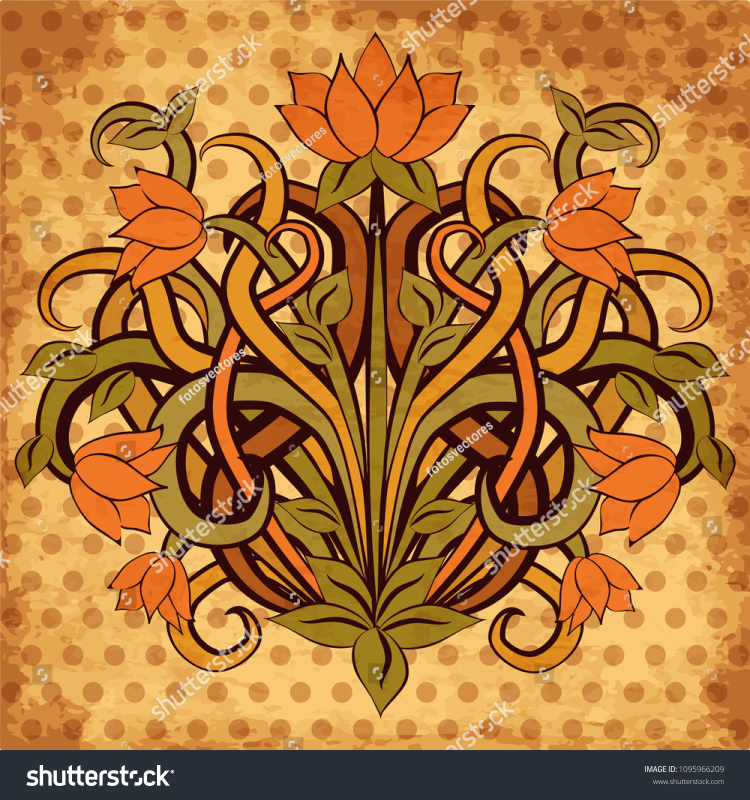 Floral Wallpaper Art Nouveau Style Vector Stock Vector Royalty