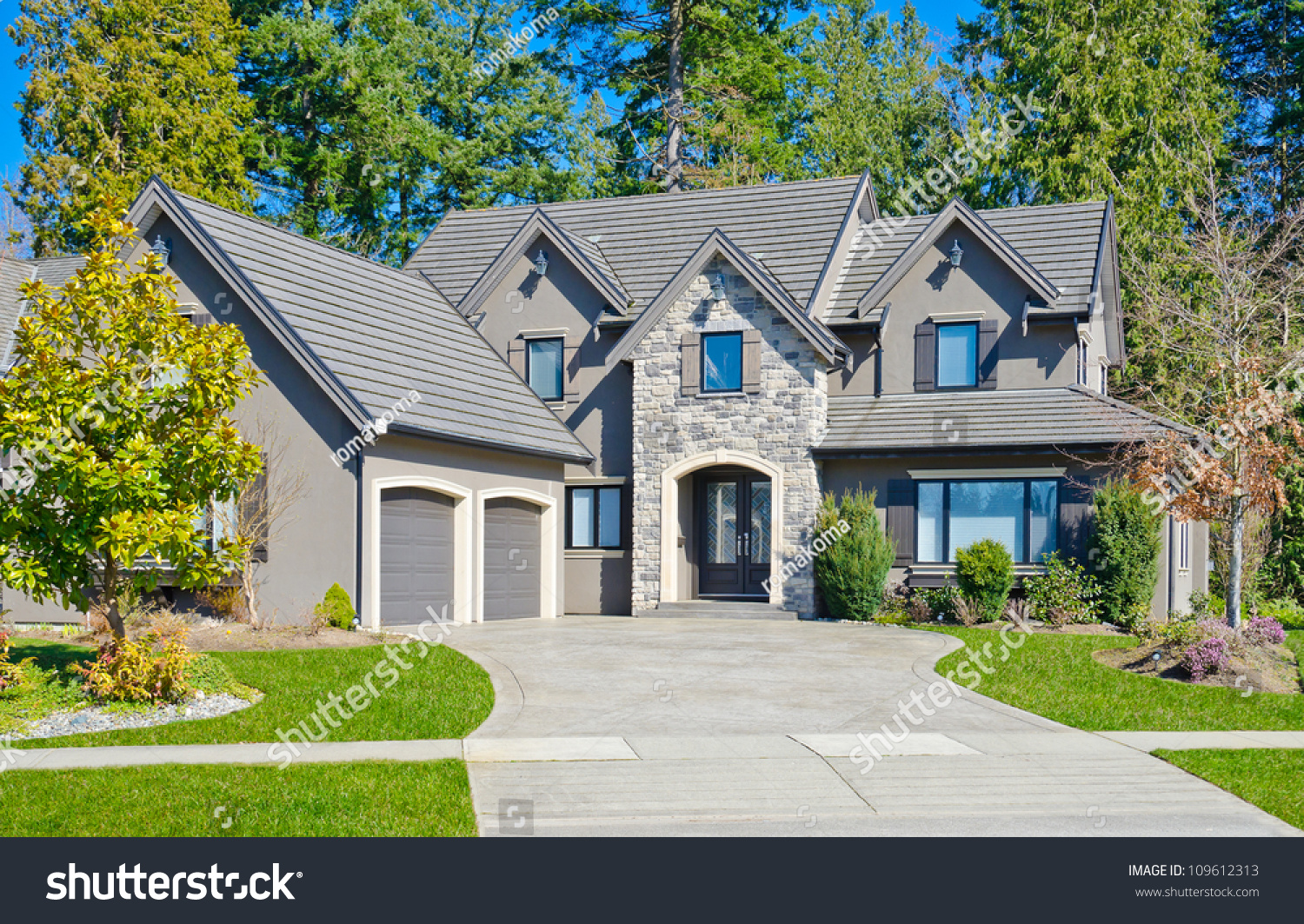 Custom built big luxury house double stock photo 109612313 for House with big garage