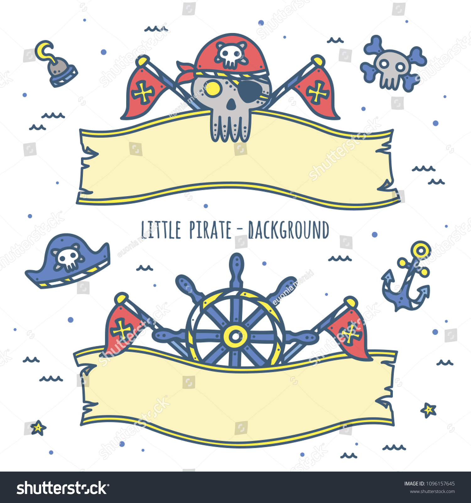 Cute Pirate Theme Graphics Ribbon Background Stock Vector Royalty Free 1096157645