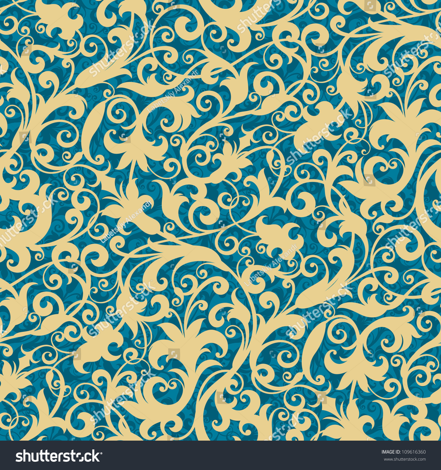 Seamless Background Floral Ornament Fashionable Modern Stock