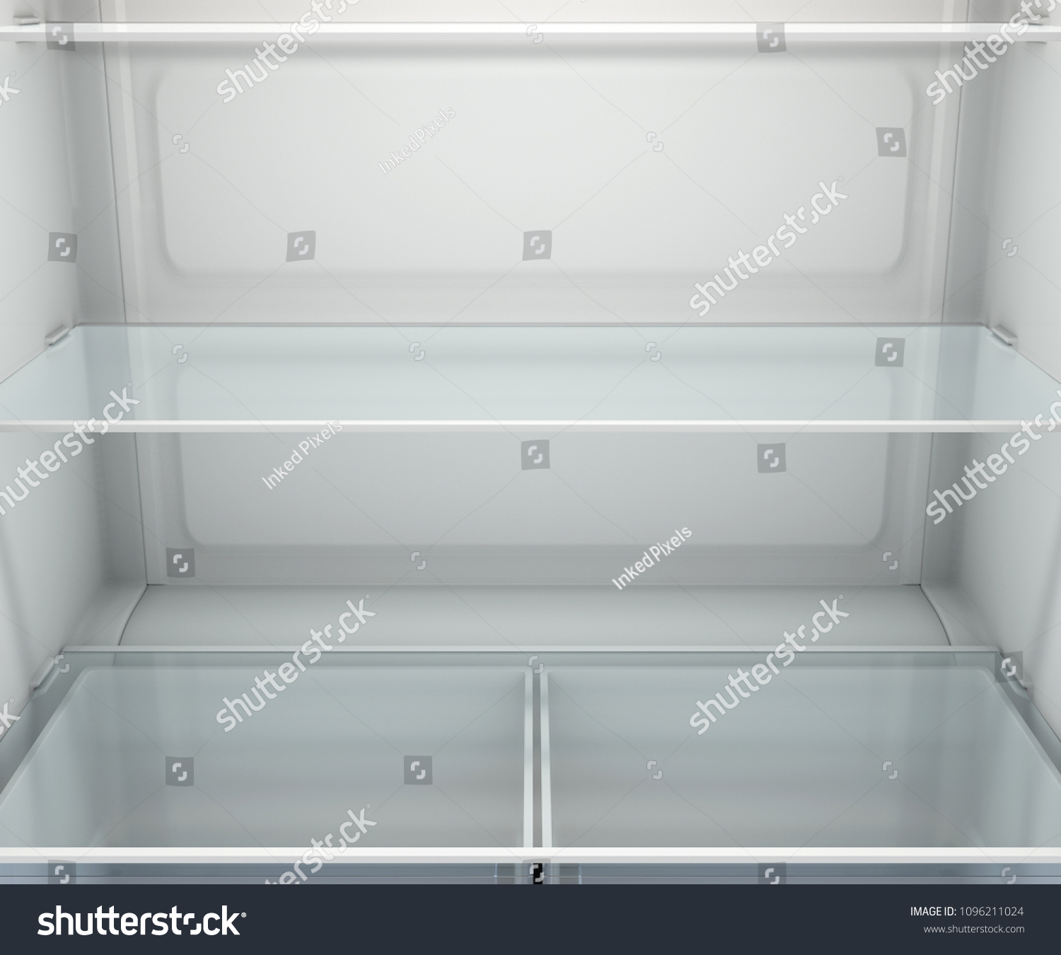 A View Inside An Empty Household Fridge Or Freezer With