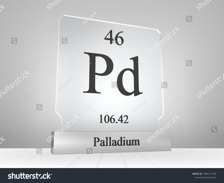 Palladium Symbol On Modern Glass Metal Stock Illustration 1096211426