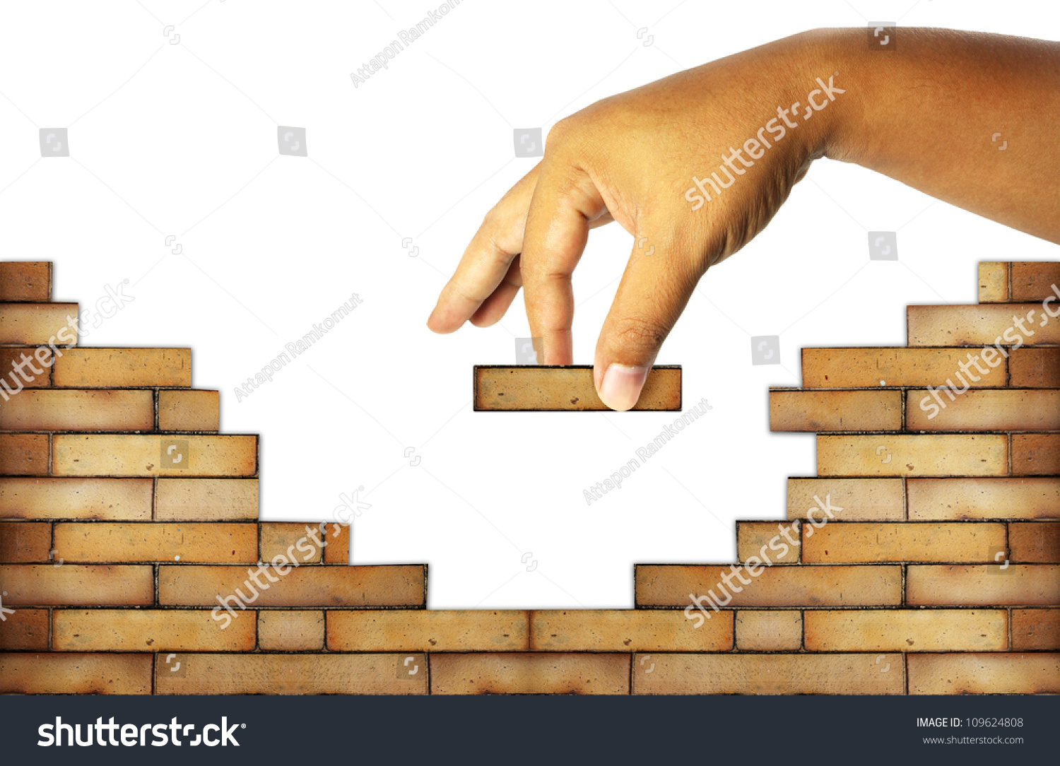 Hand Building Brick Wall Build House Stock Illustration