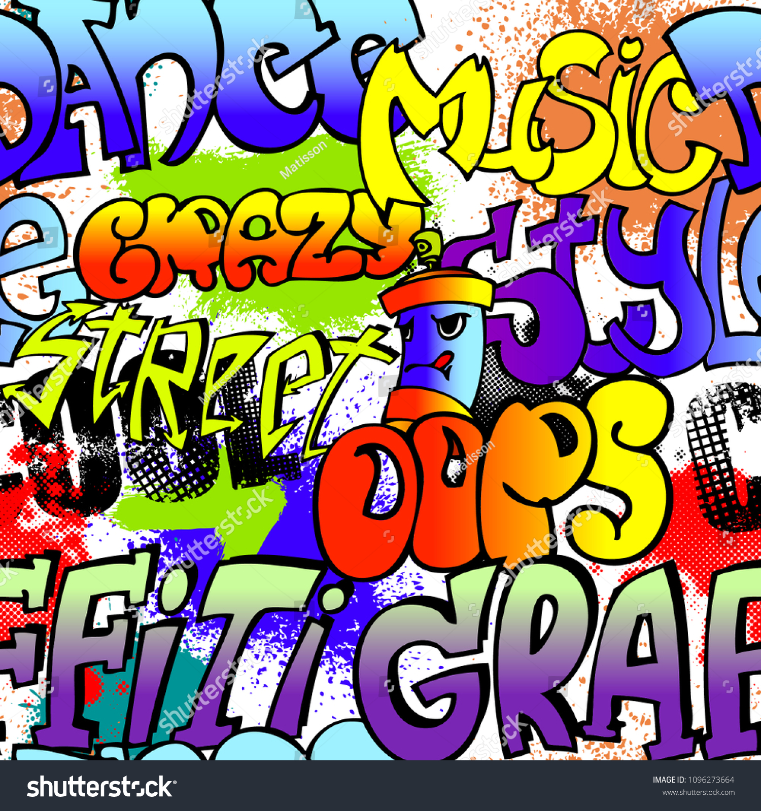 Abstract seamless graffiti pattern for boy urban style modern background with words and spray elements
