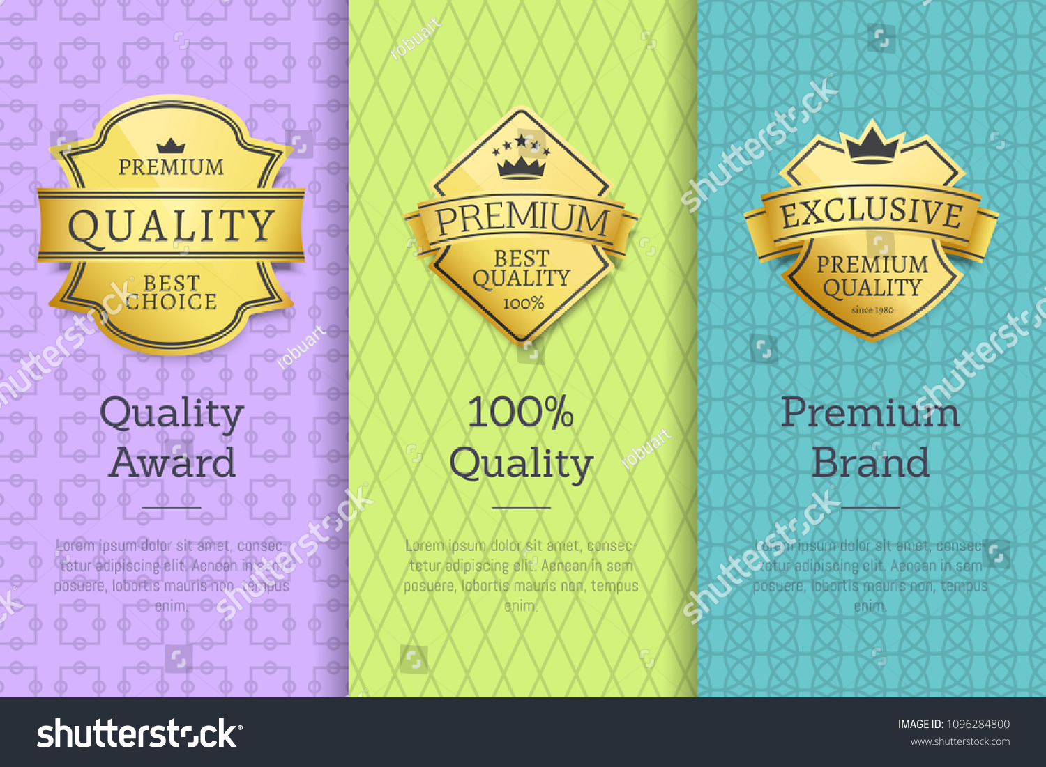 Quality award premium brand 100 seals set of golden labels with text samples warranty