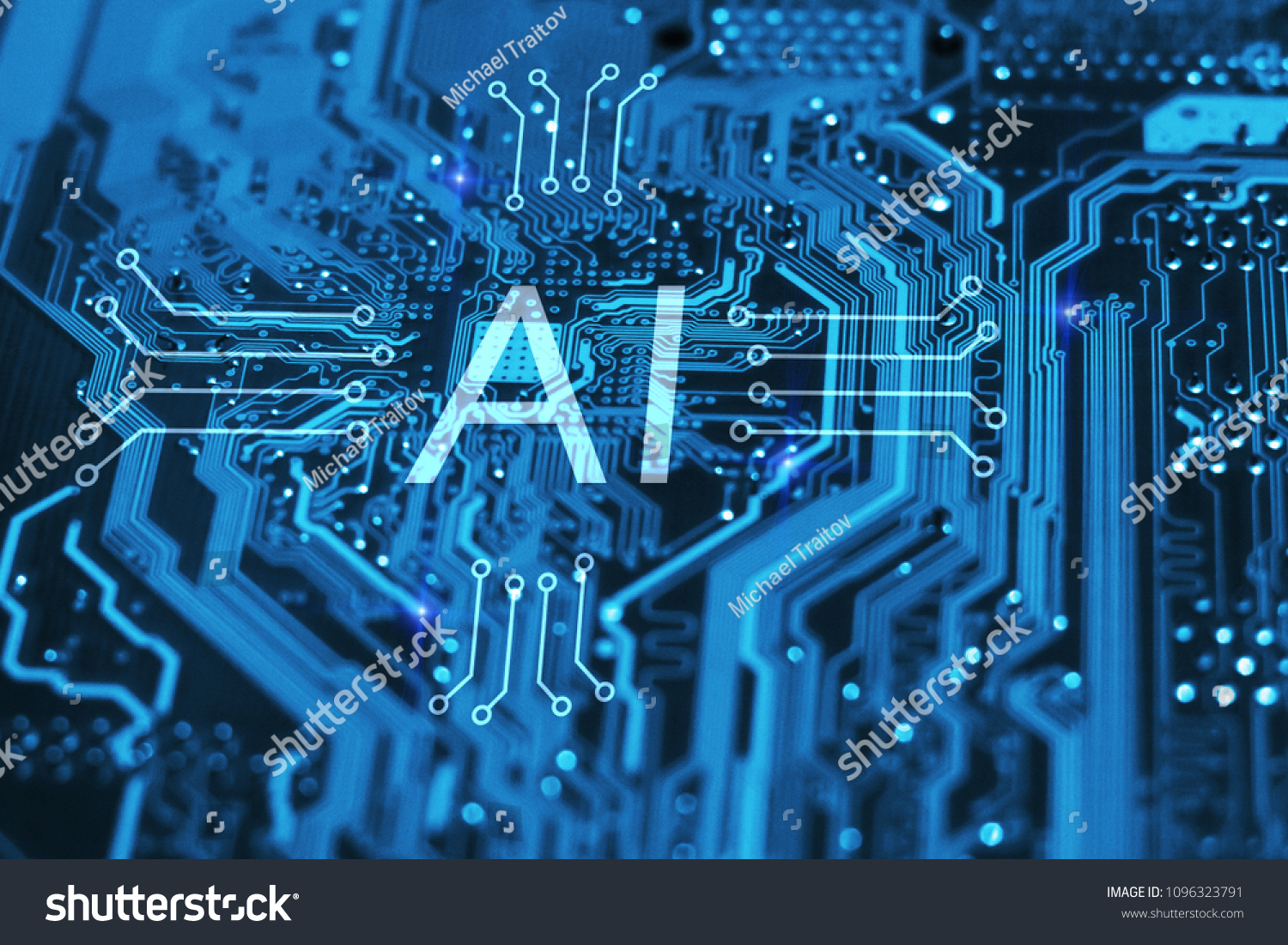 Artificial Intelligence Machine Learning Concept Ai Stock Photo Integrated Circuits And Symbol On Circuit Blue Background