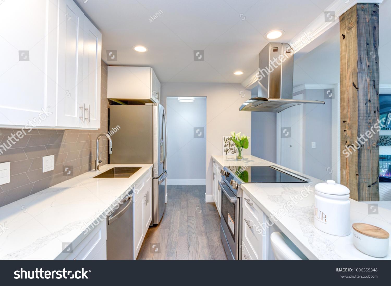 White Small Kitchen Stainless Steel Appliances Stock Photo ...