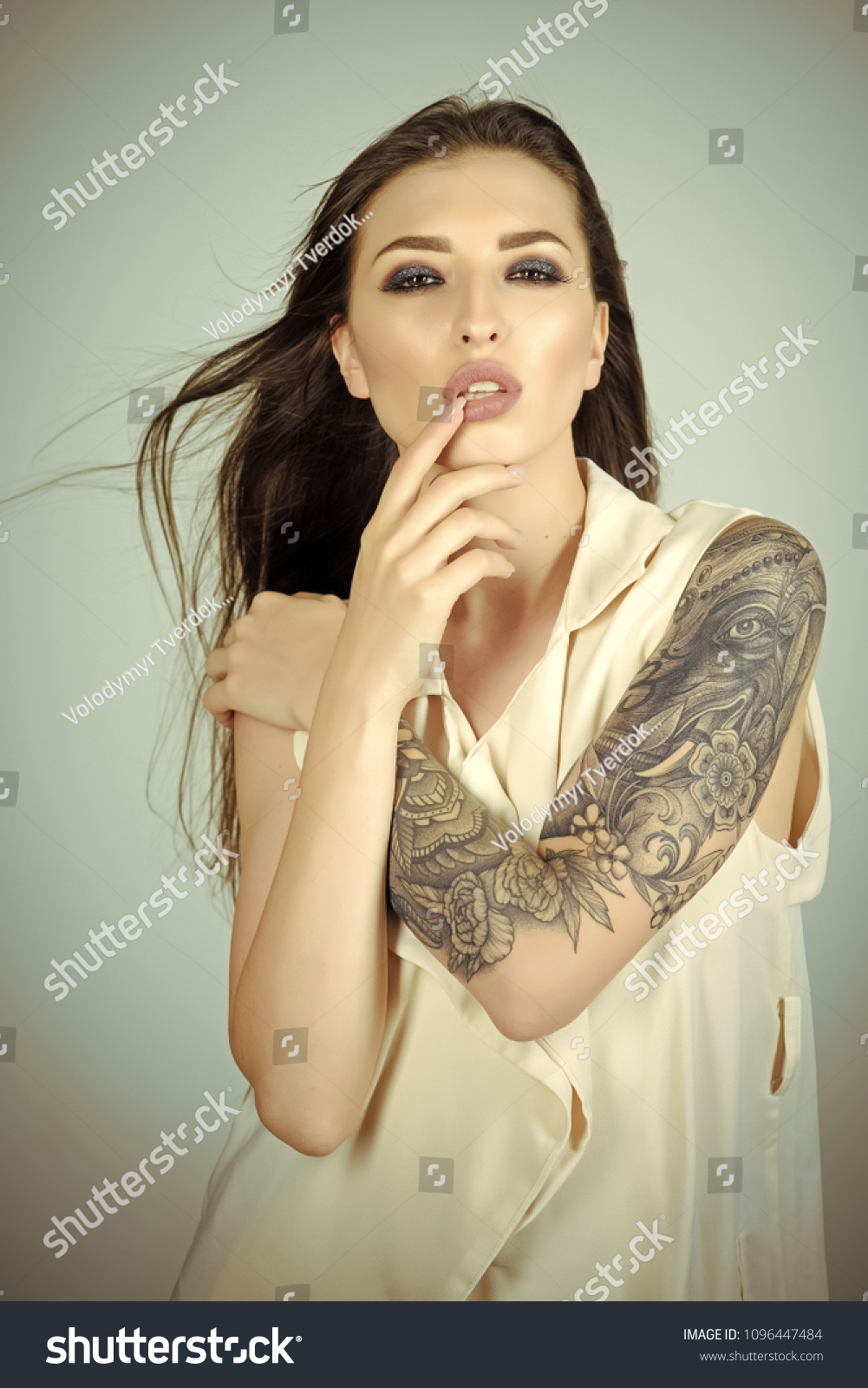 Skincare Body Art Sensual Woman Tattoo Stock Photo Edit Now 1096447484