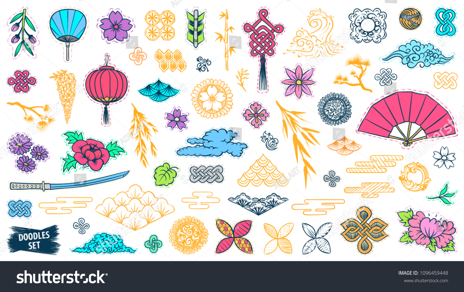 Asian Patch Badges Set Japanese Doodles Stock Vector Royalty Free