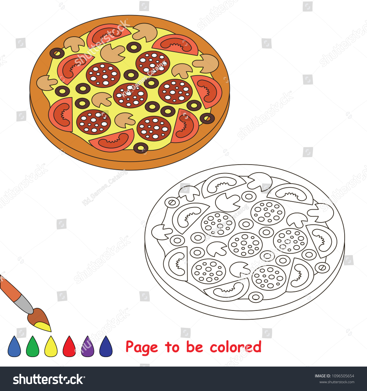 Pizza Slice Be Colored Coloring Book Stock Vector Royalty