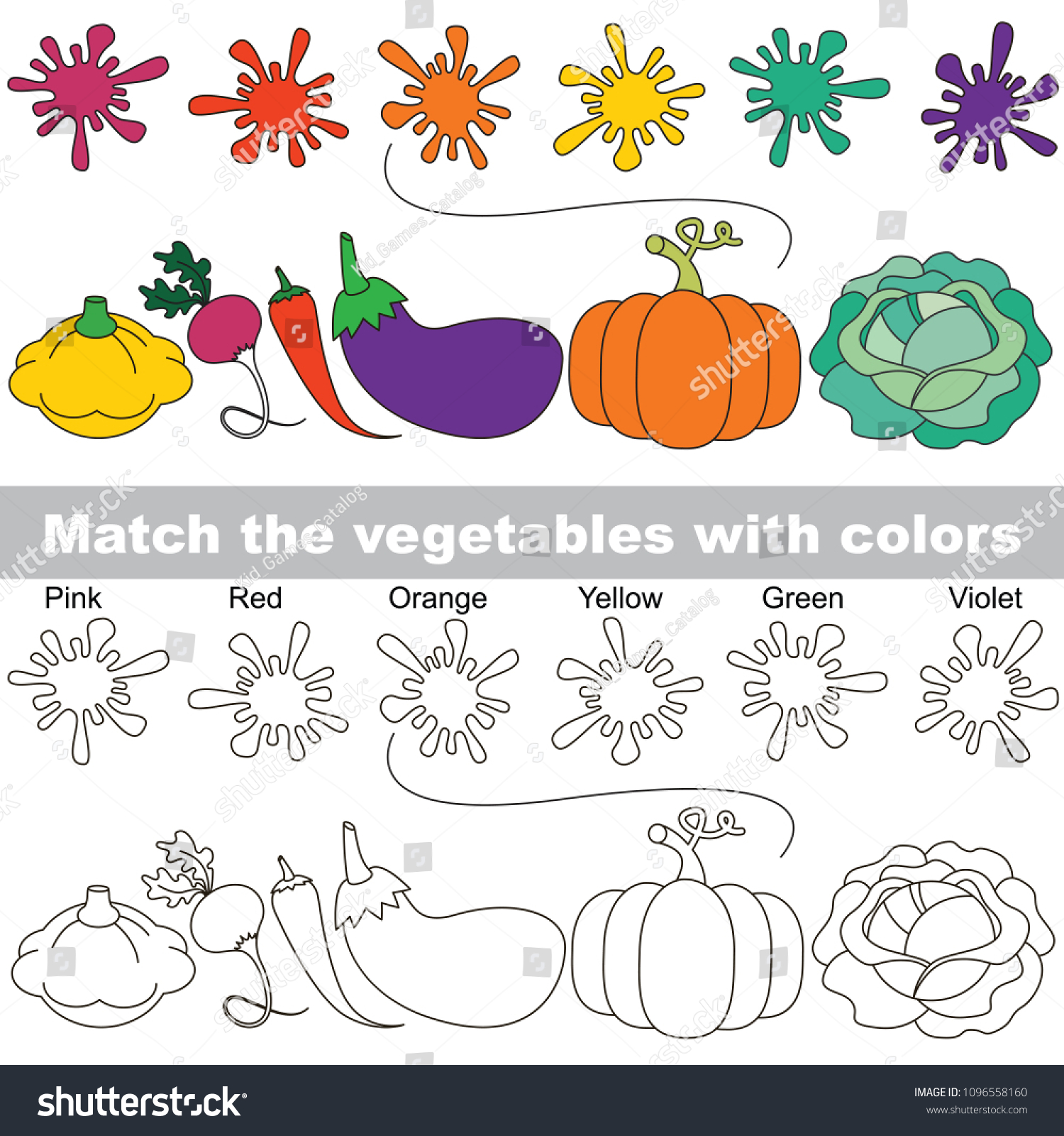 Ve able Colors Set Find Appropriate Couple Stock Vector