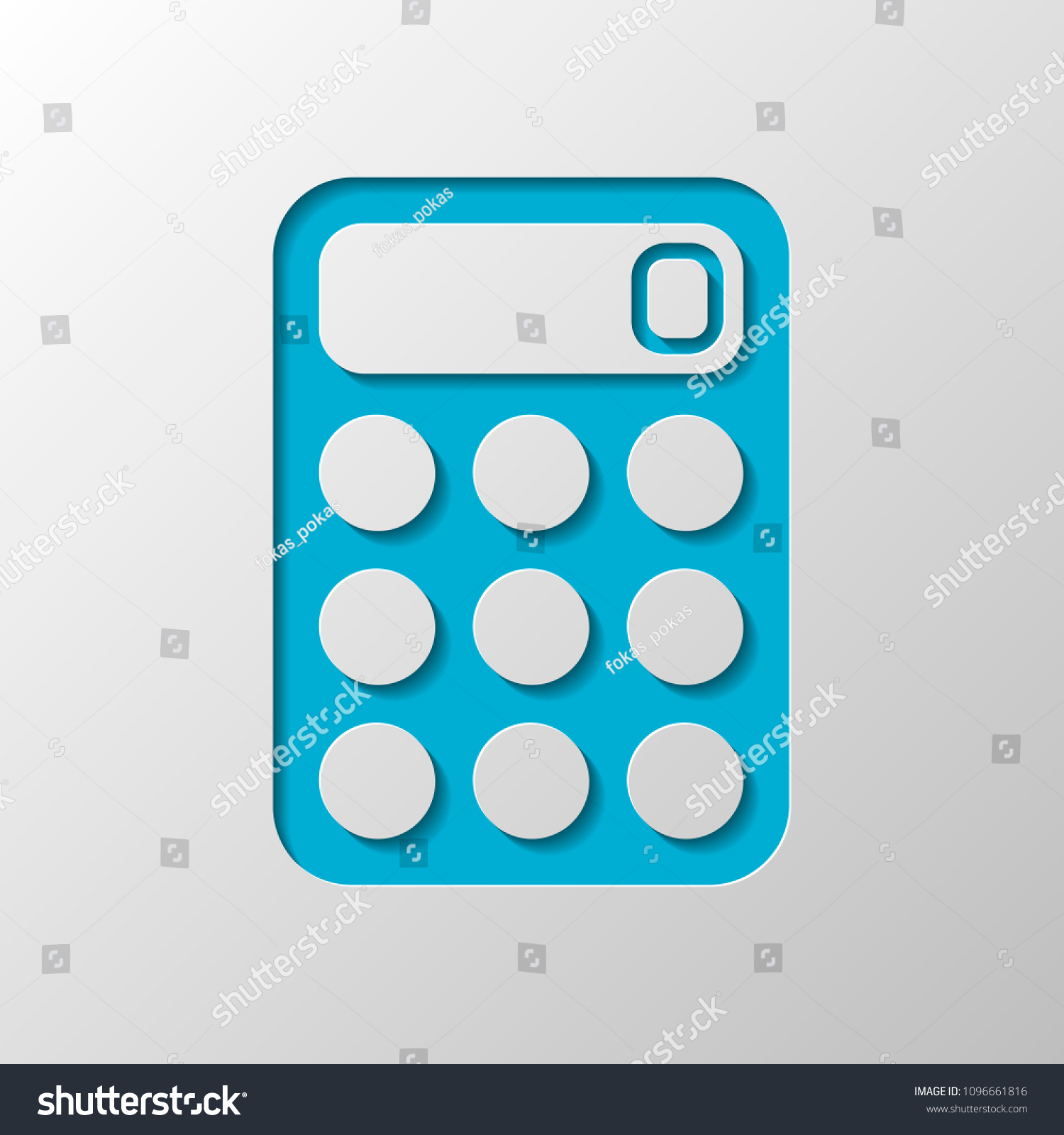 Simple Calculator Icon Paper Design Cutted Stock Vector (Royalty