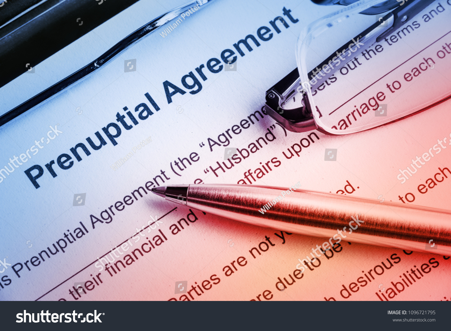 Family Law Prenuptial Agreement Contract Entered Stock Photo