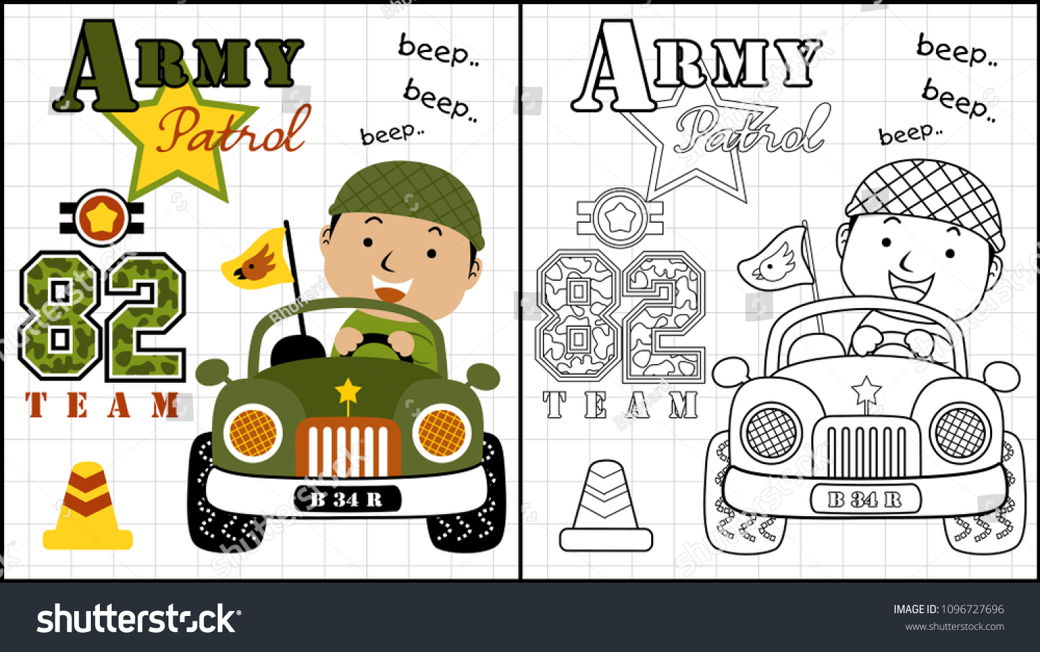 stock vector little sol r on military car coloring page or book vector cartoon illustration