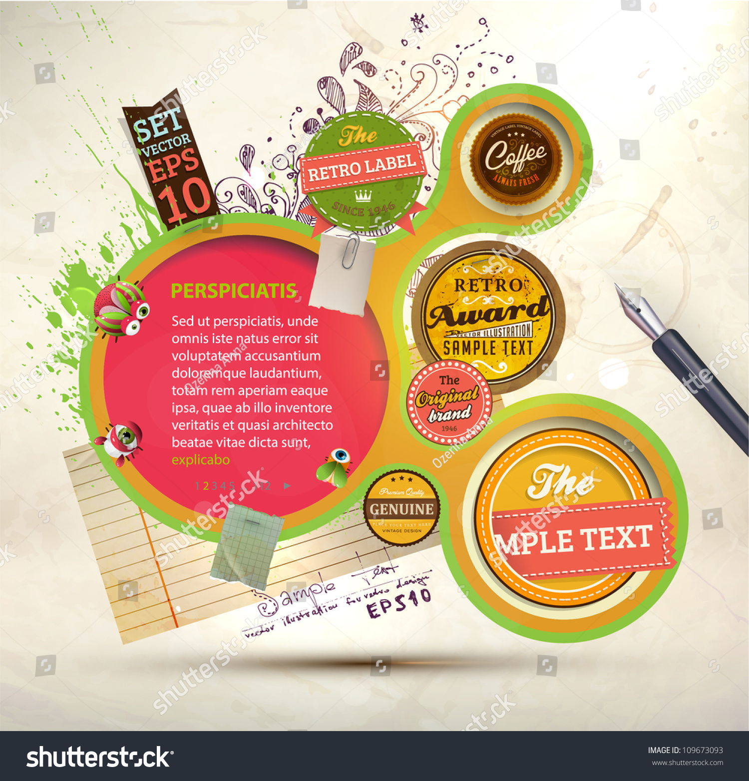 Vintage Web Design Template Labels Paper Vector 109673093 – Paper Design Template