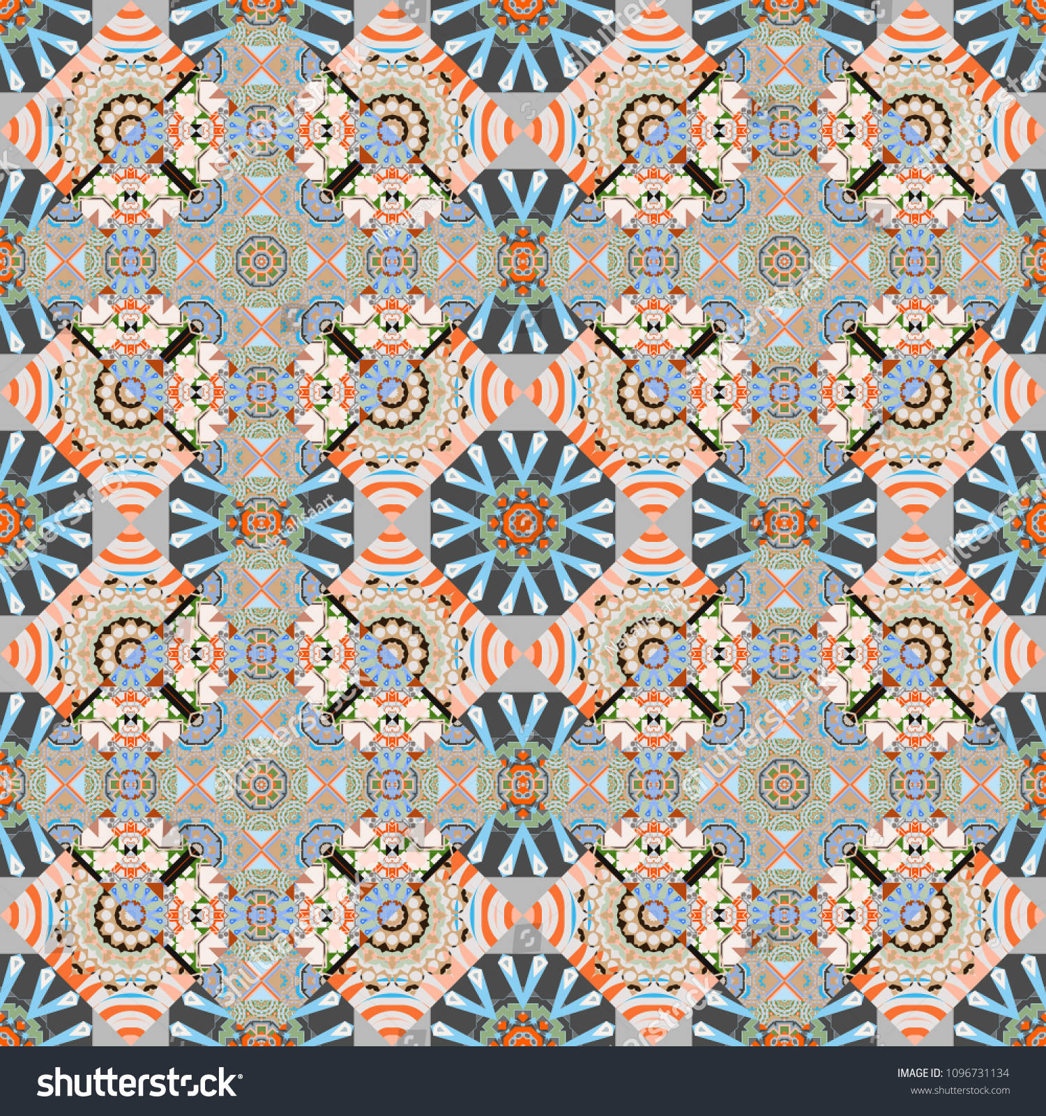 Traditional Ethnic Background In Gray, Blue And Beige Colors Vector