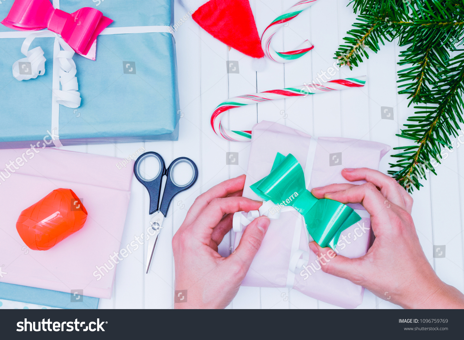 Womens Hands Wrap Christmas Present Christmas Stock Photo (Edit Now ...