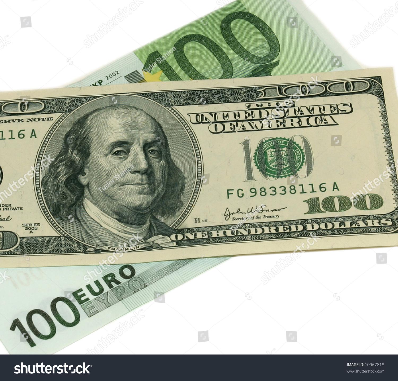 100 euro versus 100 us dollar bills stock photo 10967818 shutterstock. Black Bedroom Furniture Sets. Home Design Ideas