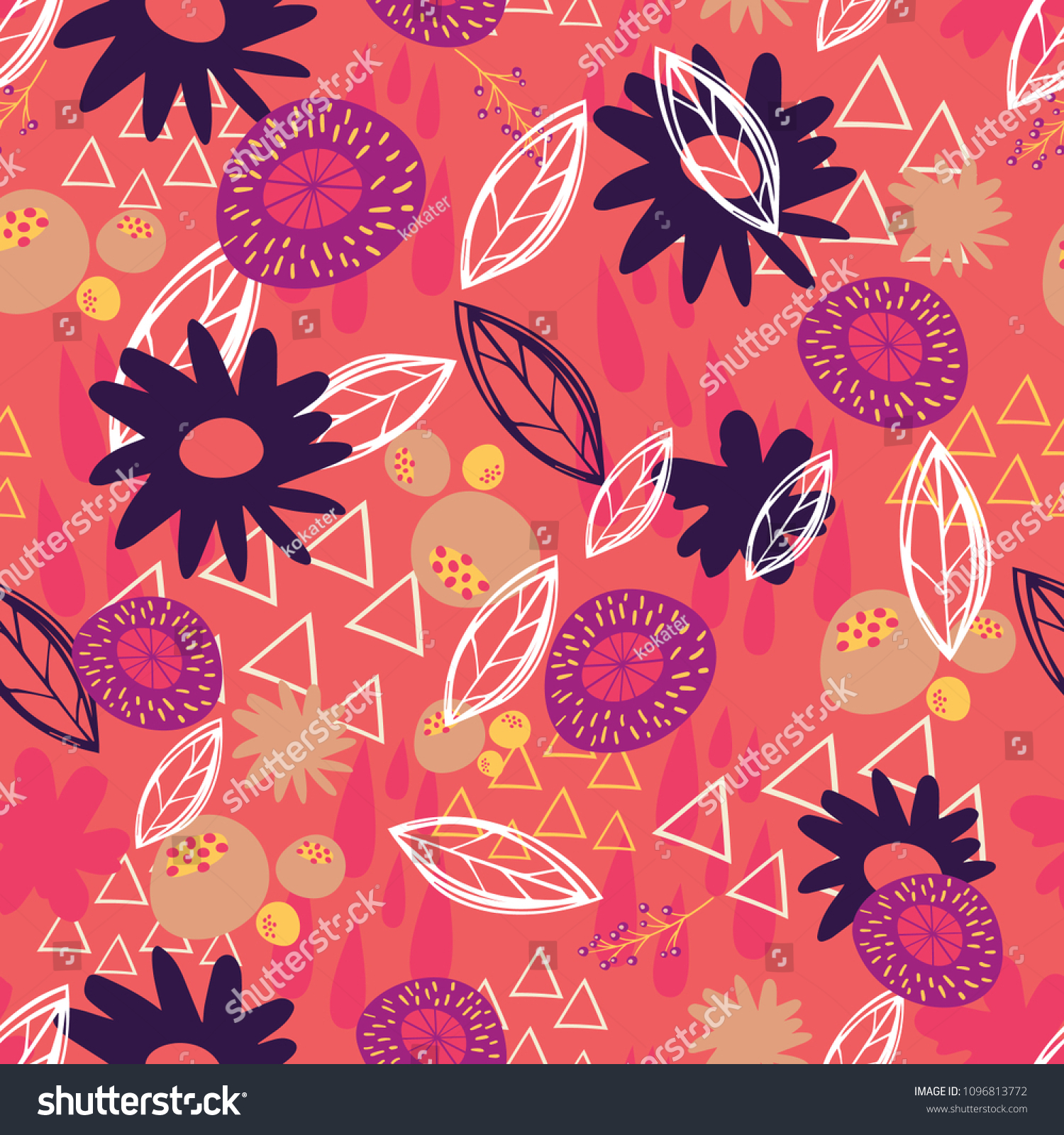 Seamless Pattern Abstract Floral Elements On Stock Vector Royalty