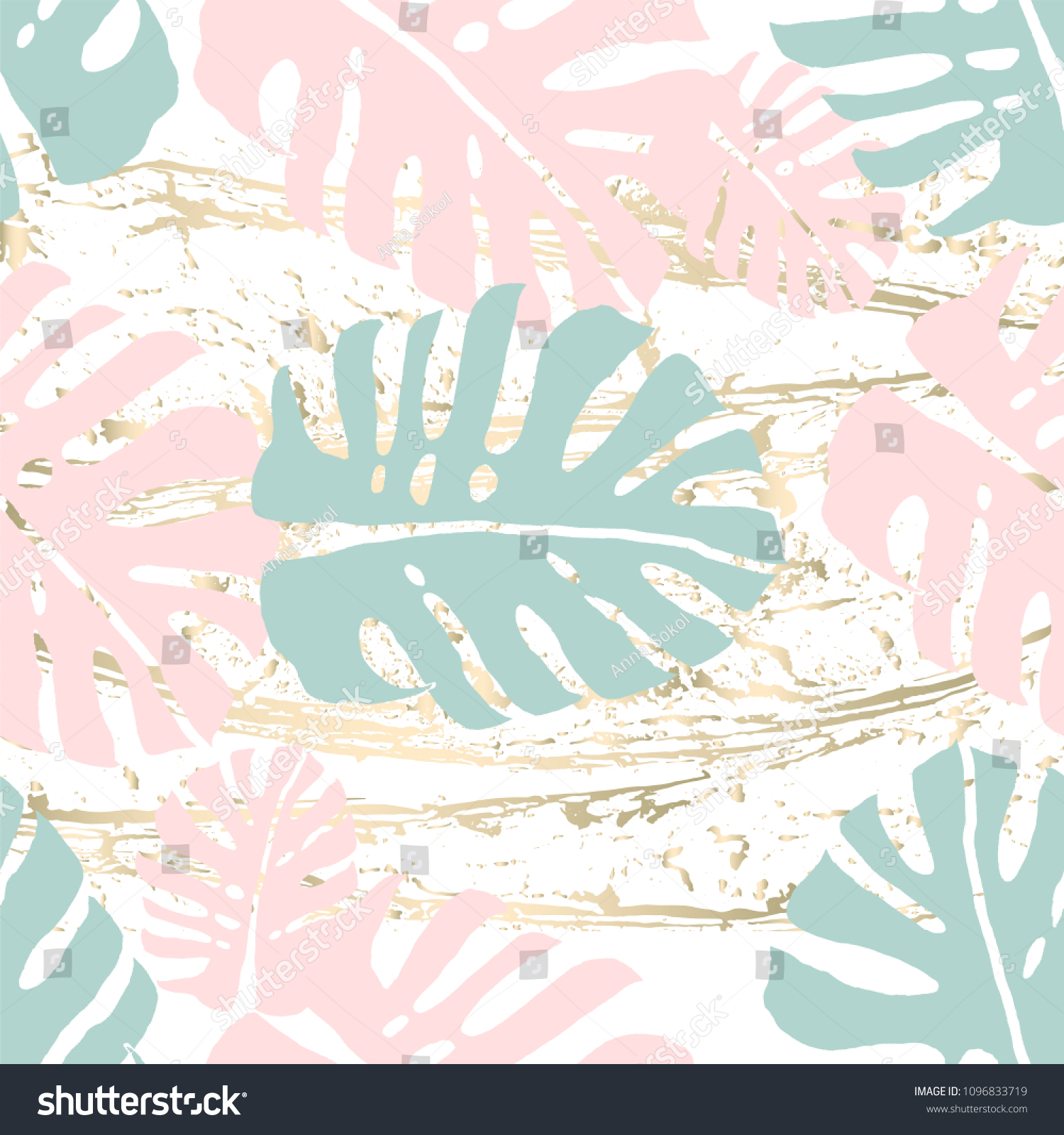 Tropical Worn Floral Pastel Pink Mint Stock Vector Royalty Free