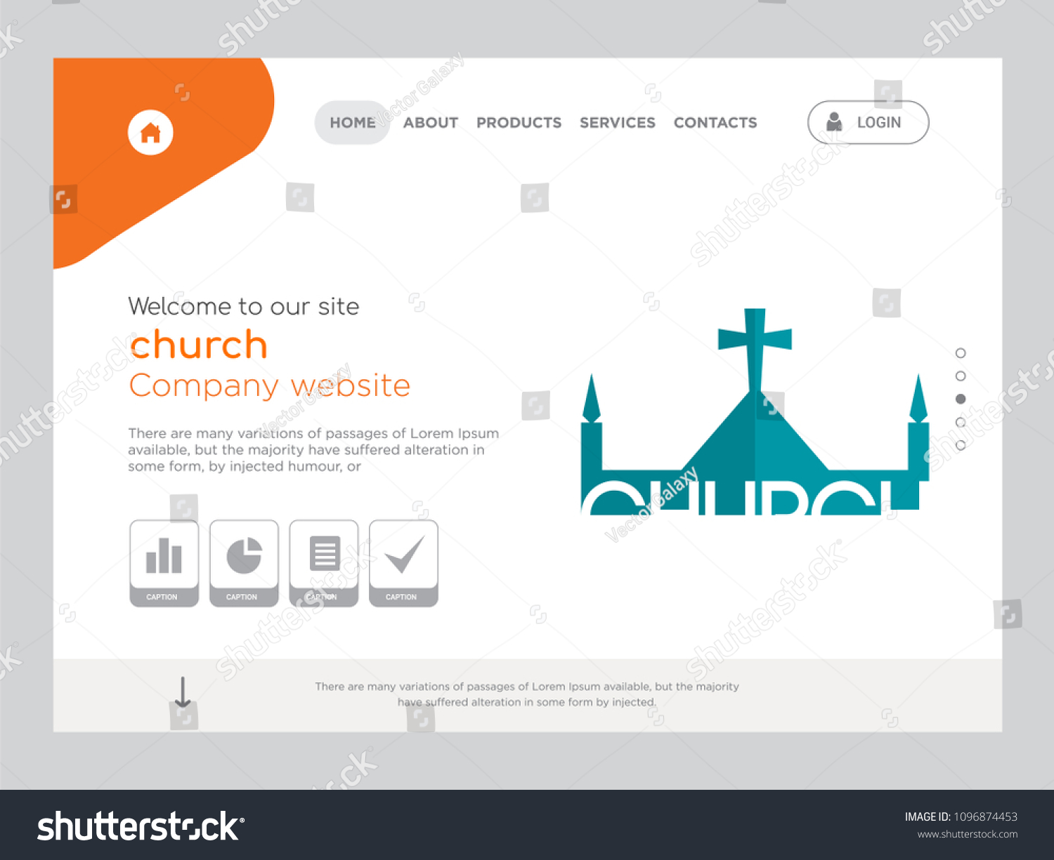 Quality one page church website template stock vector 1096874453 quality one page church website template vector eps modern web design with flat ui elements maxwellsz
