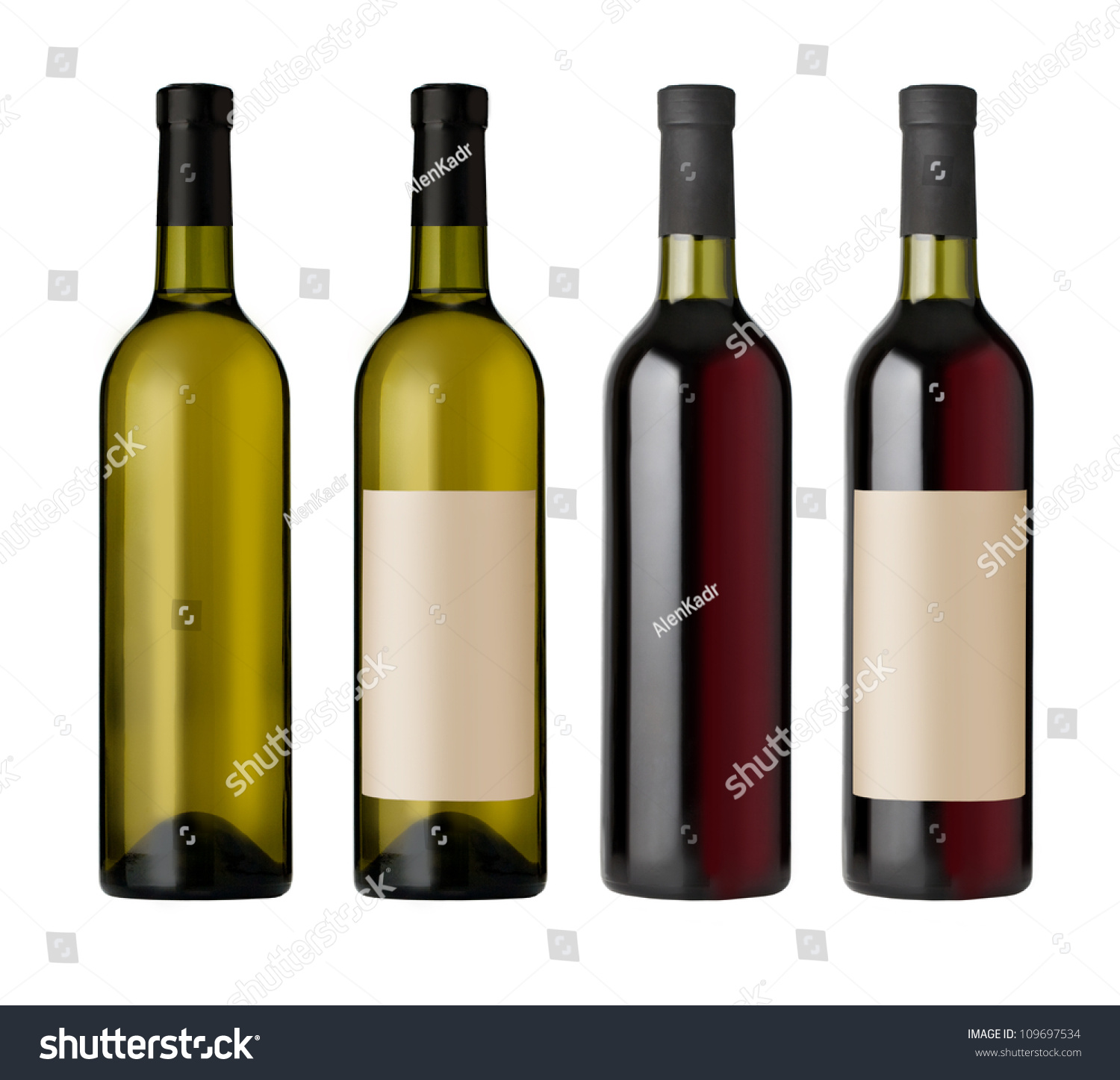Two Red White Wine Bottles Blank Stock Photo 109697534 ...