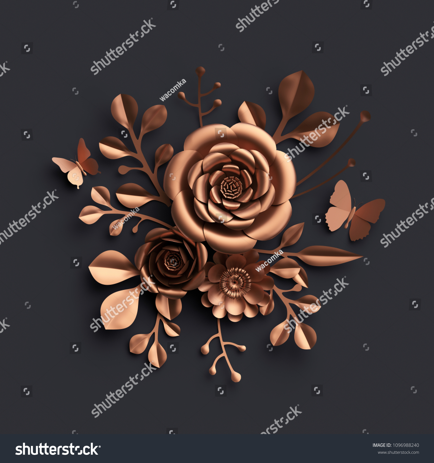 3 D Render Rose Gold Paper Flowers Stock Illustration 1096988240
