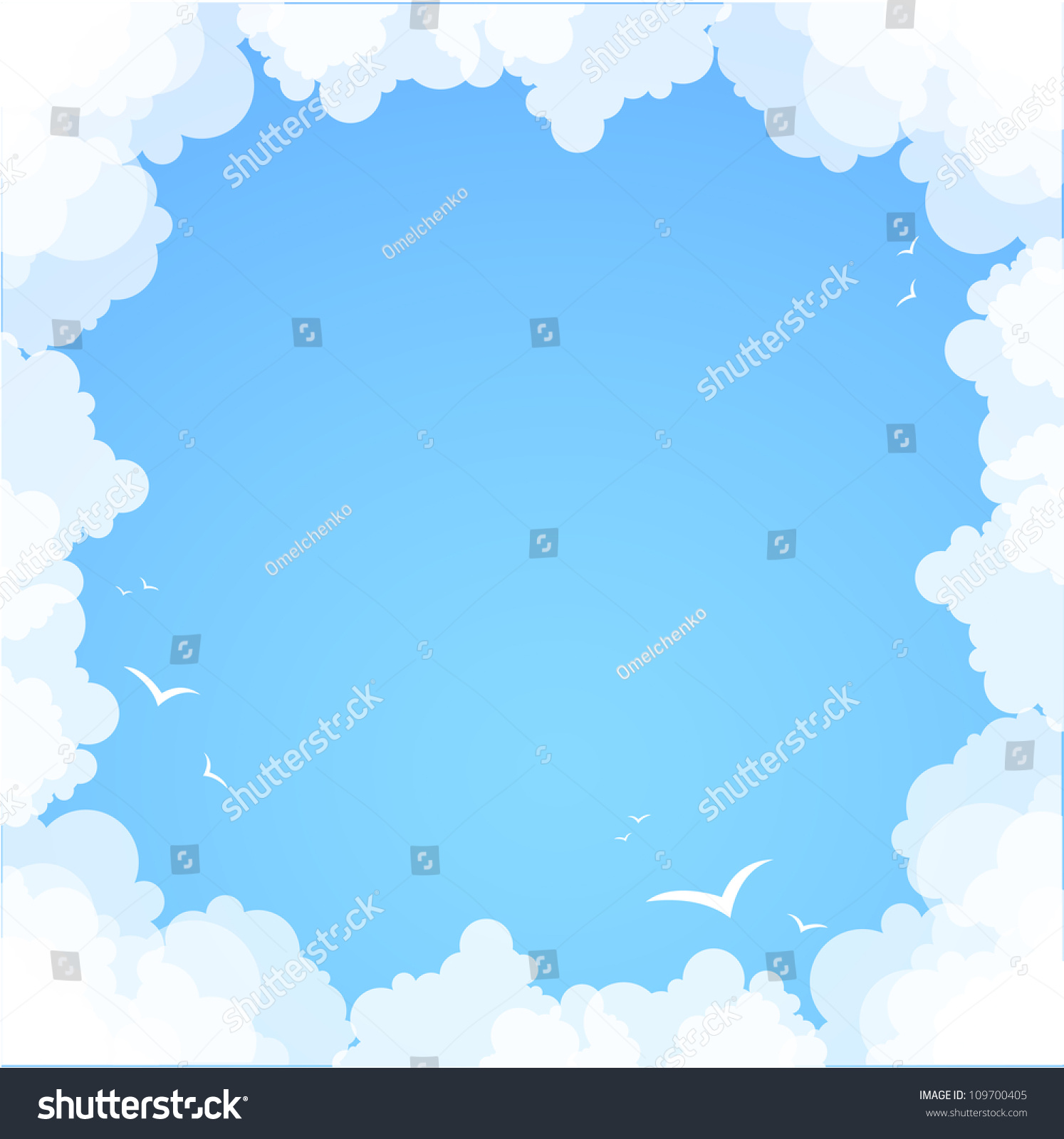 frame made of clouds abstract background summer theme