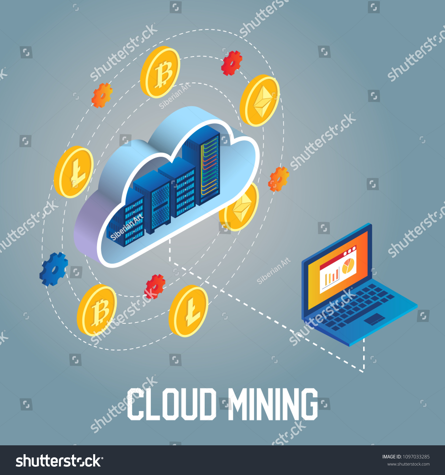Cryptocurrency Cloud Mining Flowchart Vector Isometric Stock Vector