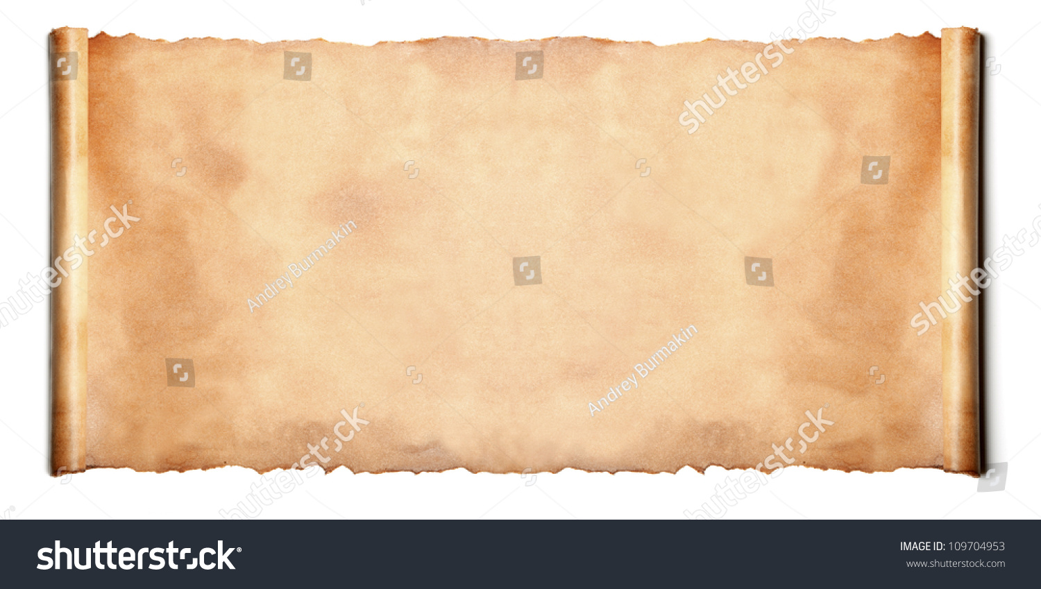 horizontal ancient scroll isolated over white stock photo