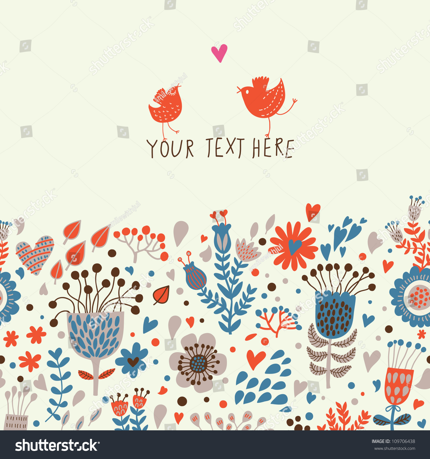 Decorative Element Border Flowers Birds Floral Stock Vector
