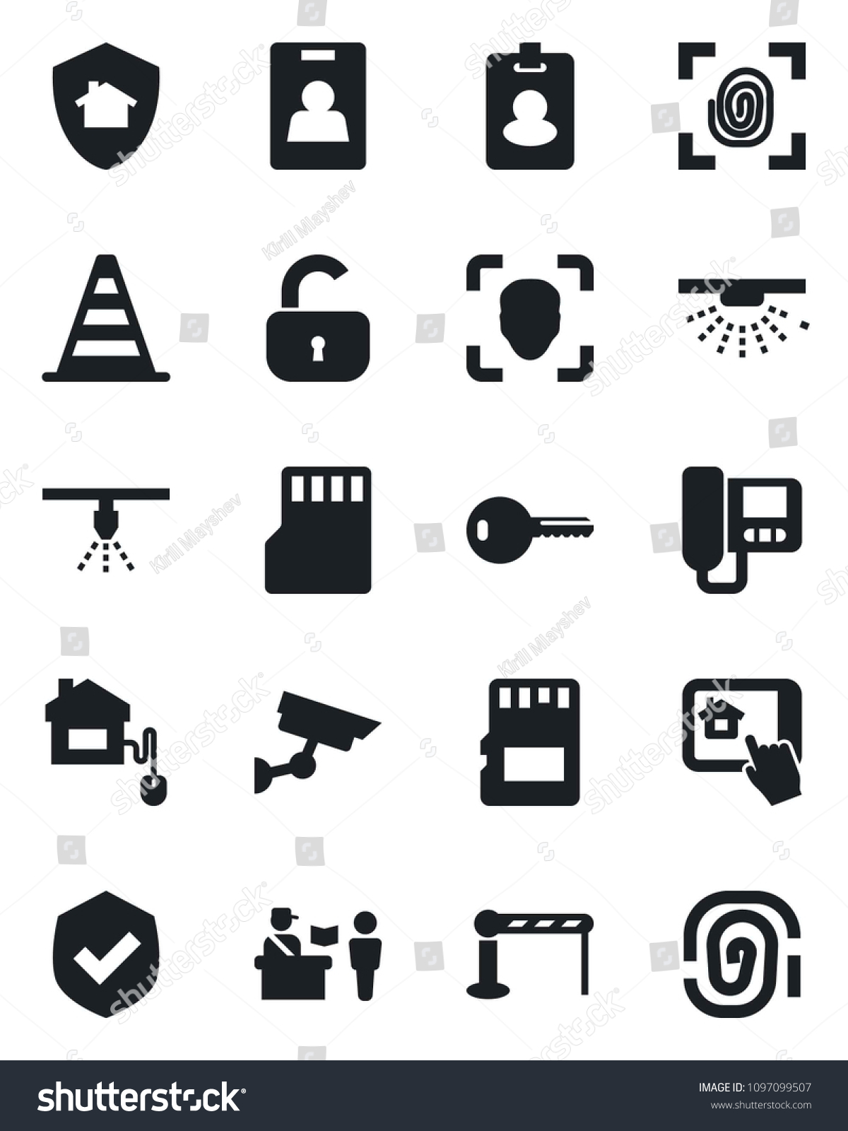 Set Vector Isolated Black Icon Barrier Stock Vector (Royalty
