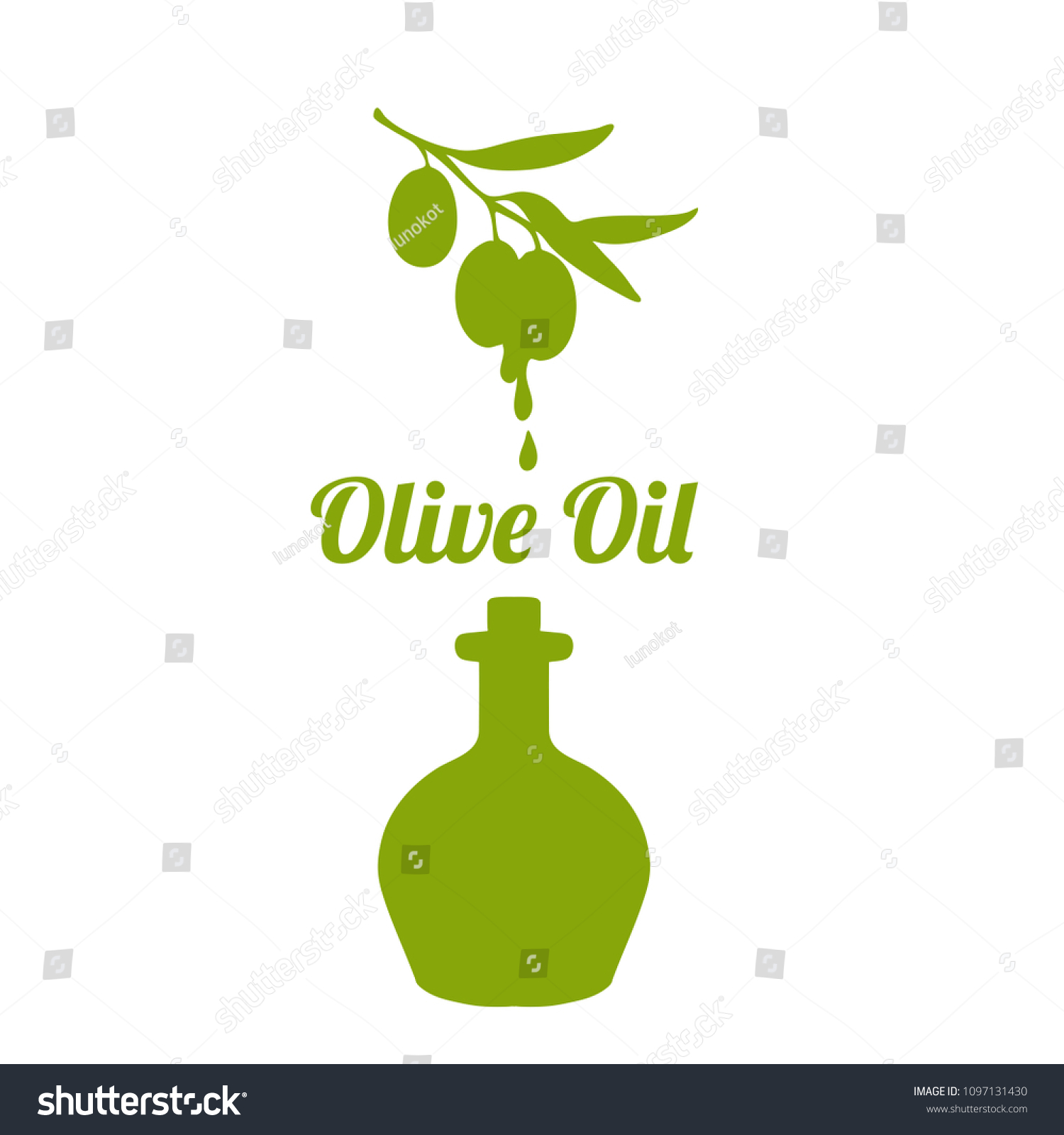 Silhouette Olive Oil Bottle Olives Branch Stock Vector 1097131430 ...