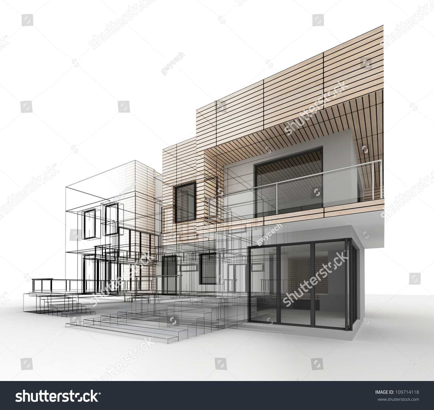 House design progress architecture drawing visualization Drawing modern houses
