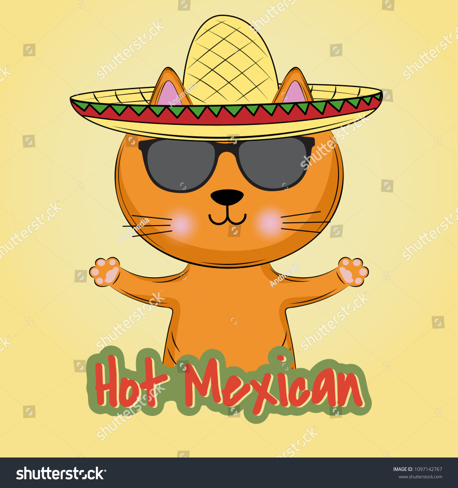 Cute Cat Mexican Style Sombrero Hat Stock Vector Royalty Free