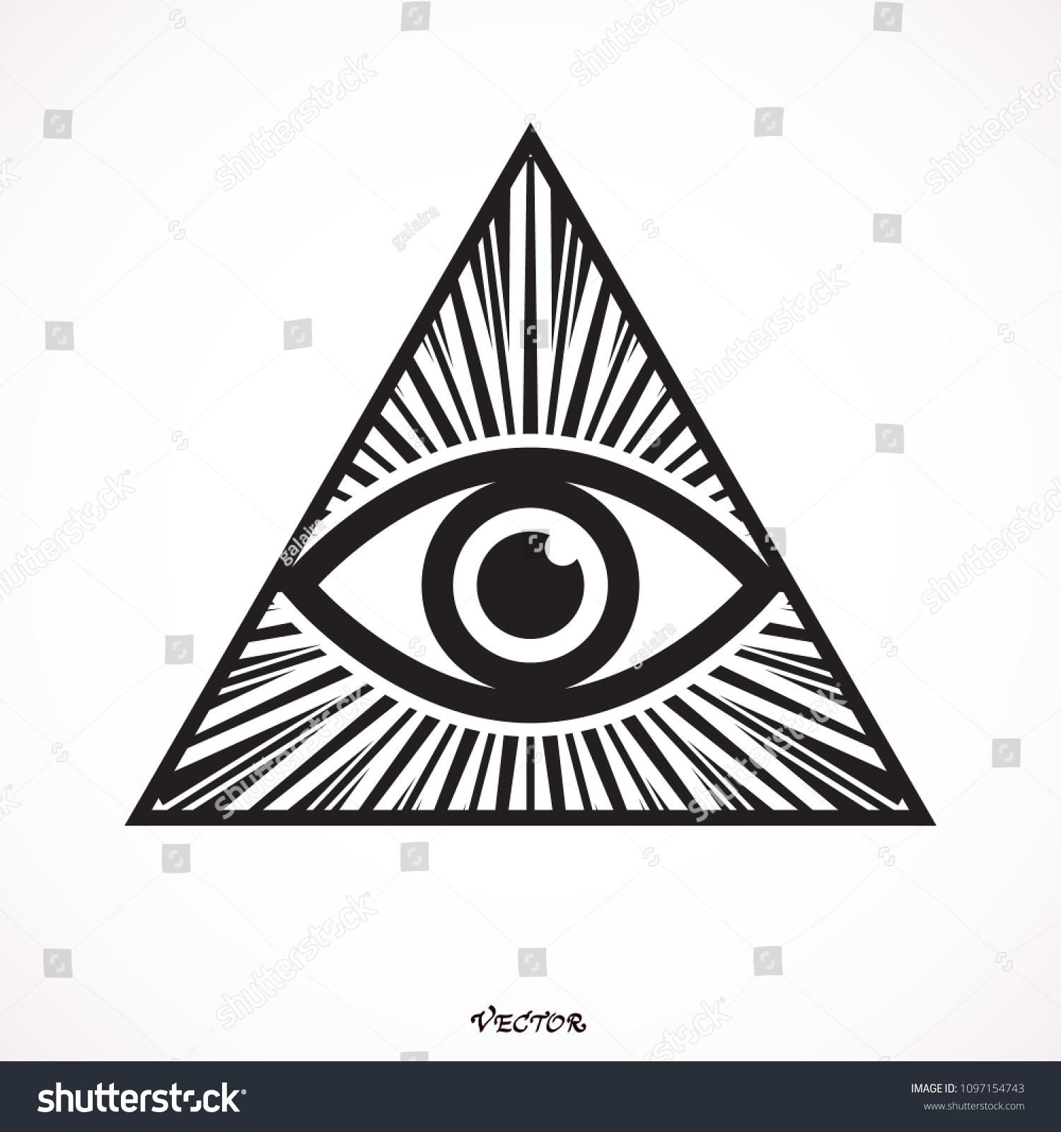 Icon Allseeing Eye Symbol Masons Allseeing Stock Vector Royalty