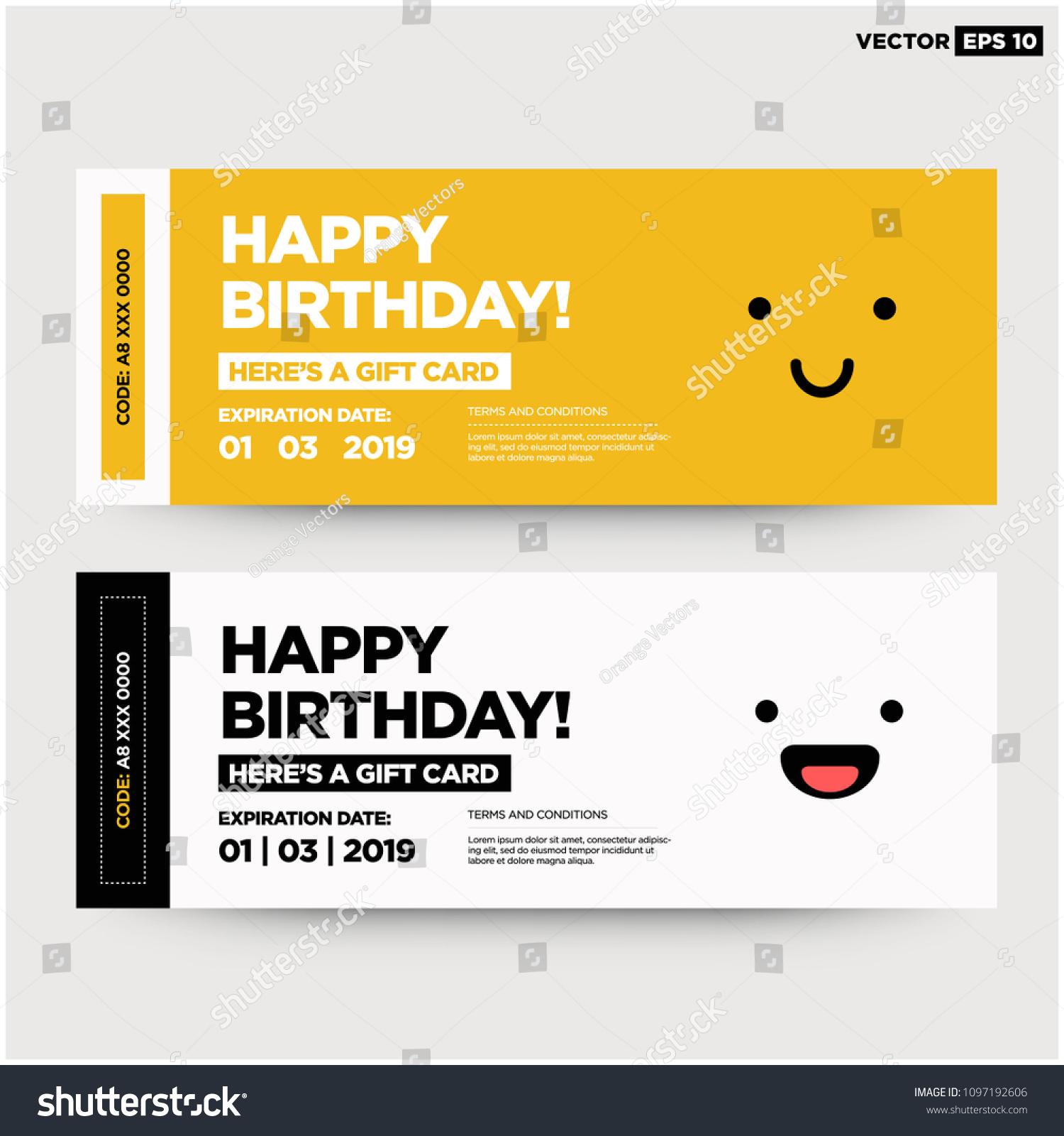 happy birthday emoji gift card coupon stock vector royalty free