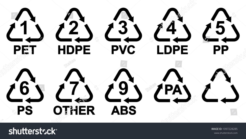 Plastic Recycling Symbols Vector Illustration Stock Vector Royalty