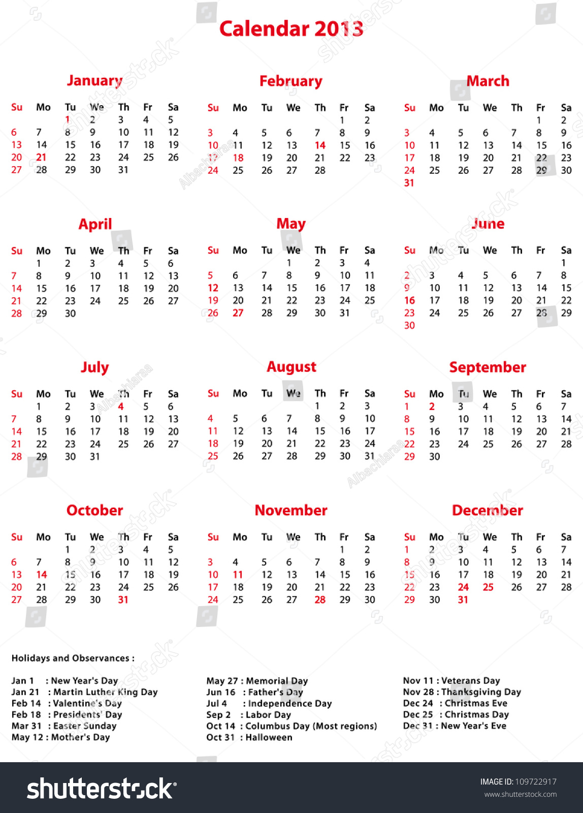 Simple 2013 Office Calendar With Holidays And Observances. Stock Photo ...