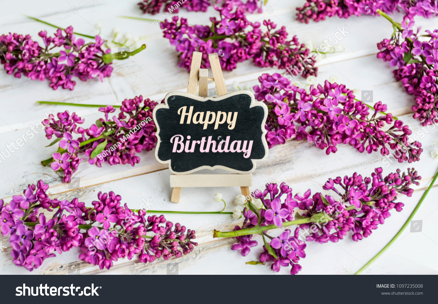 Lilac flowers happy birthday message on stock photo edit now lilac flowers and happy birthday message on a white wooden background izmirmasajfo