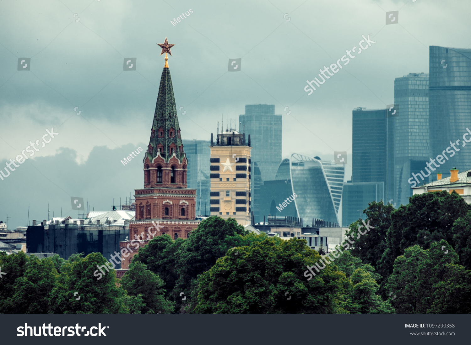 Moscow Russia  20 of May 2018: One Of The Towers Of Kremlin In Front Of Moscow-city Buildings On Background