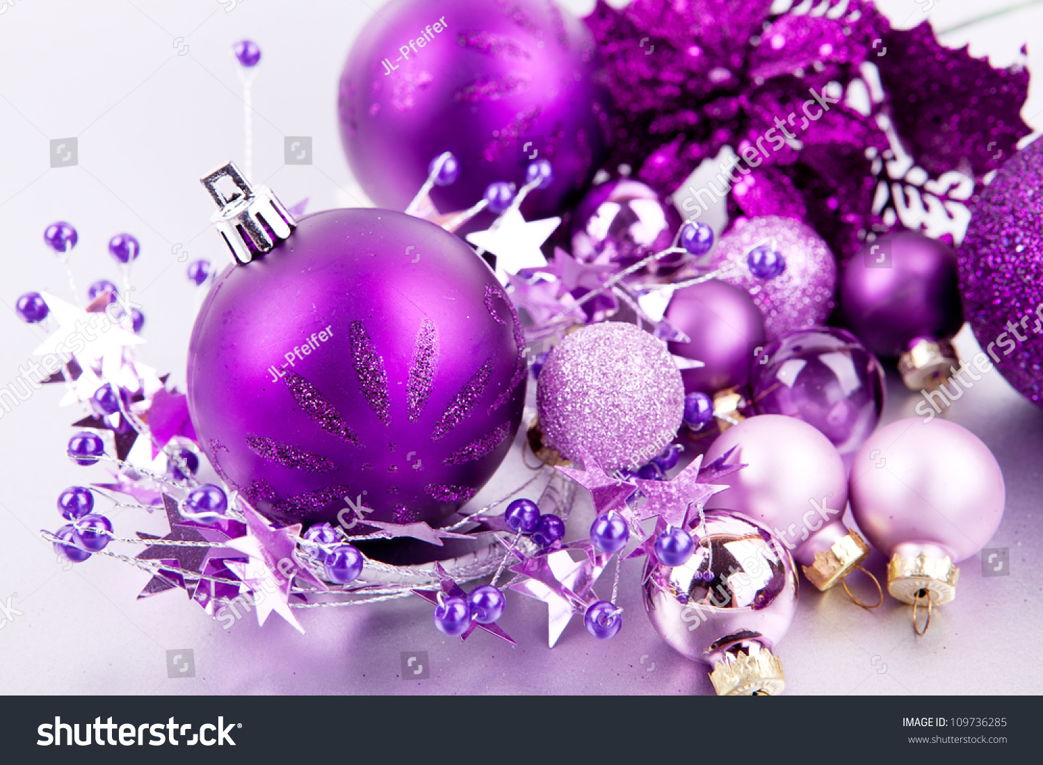 Purple and silver christmas decorations - Shiny Purple Christmas Decoration On Silver Space For Text Preview Save To A Lightbox