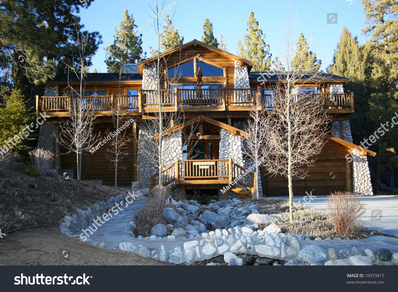 Cabin At Lake Big Bear California Stock Photo 10973815