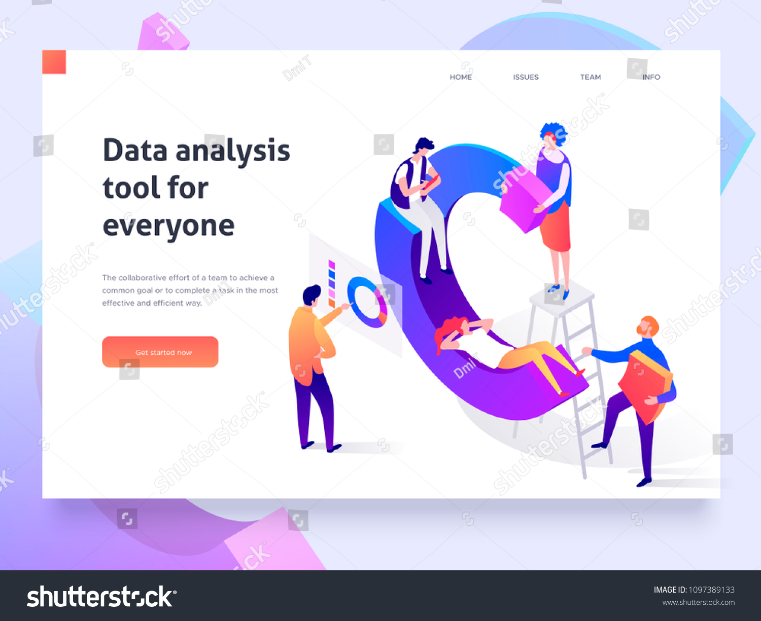 People in a team build a pie chart and interact with graphs. Data analysis, and office situations. Landing page template. 3d isometric illustration #1097389133