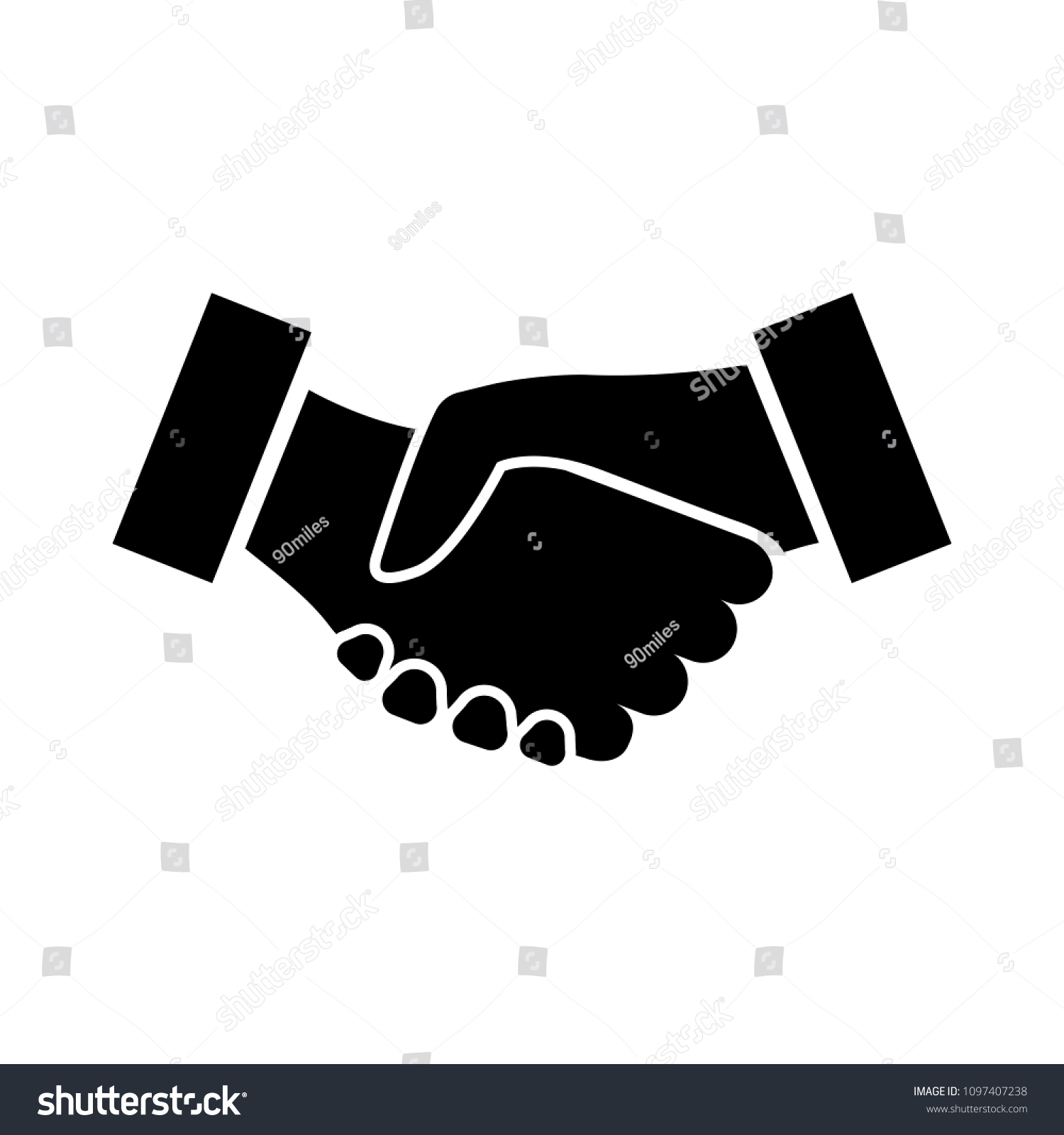 Handshake Icon Two Hands Shaking Confirmation Stock Vector Royalty