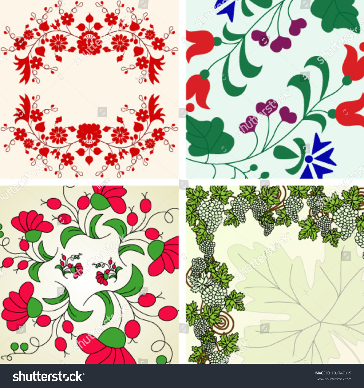 Set Beautiful Floral Backgrounds Vector Illustration Stock Vector