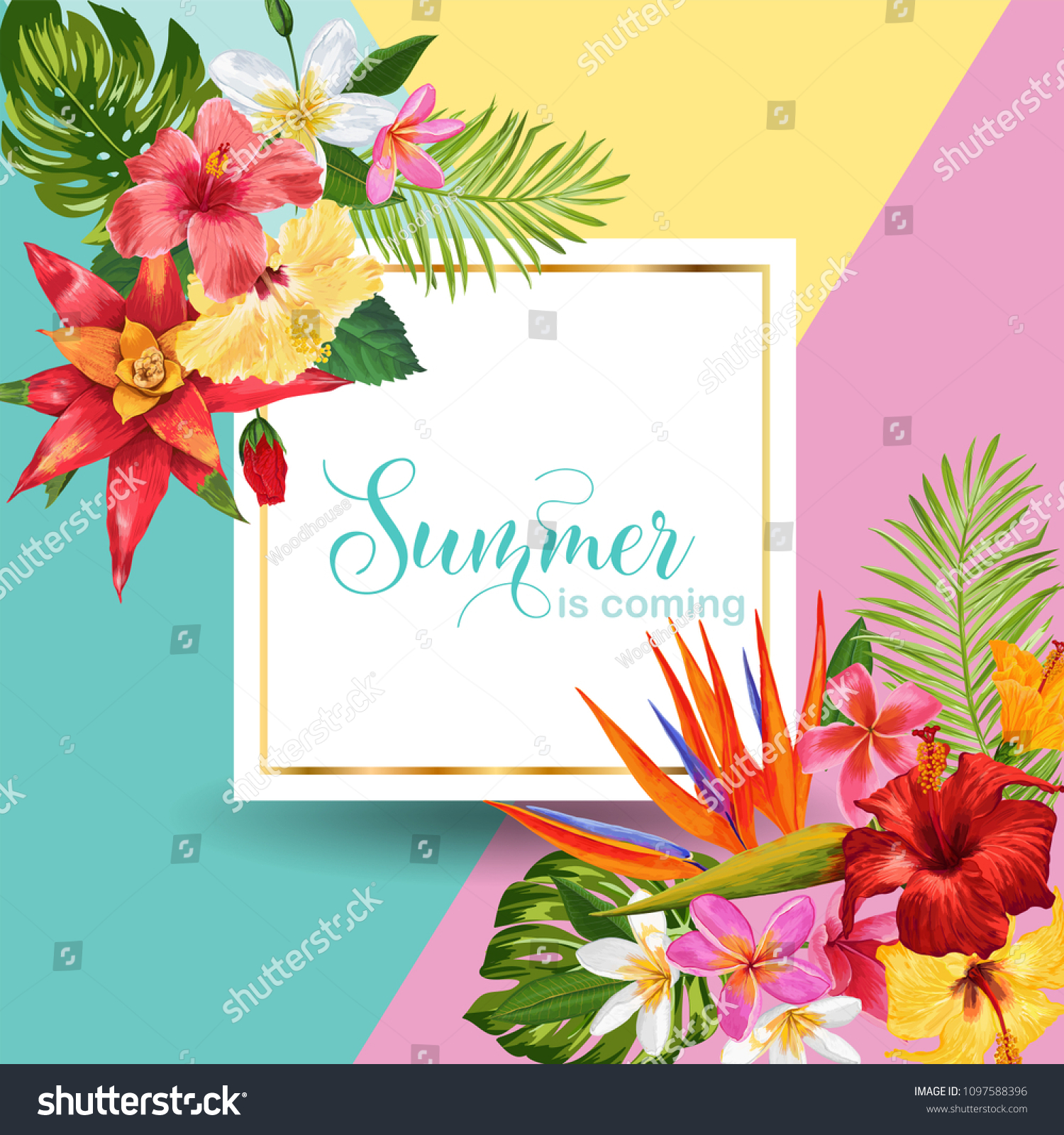 Hello summer tropic design tropical hibiscus stock vector royalty tropical hibiscus flowers background for poster sale banner placard izmirmasajfo